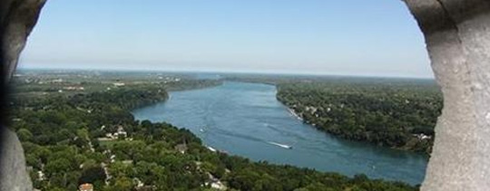 North view of Niagara River from top observation floor of Brock Monument